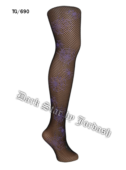 Fishnet Tights With Spider Print DS/Tg/690