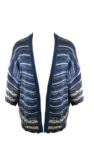 Cardigan Knitted Blue One Size