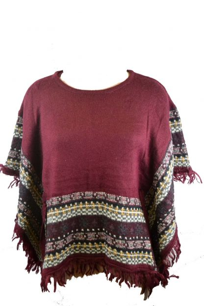 Poncho Knitted Maroon One Size