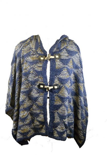 Poncho Knitted Blue One Size