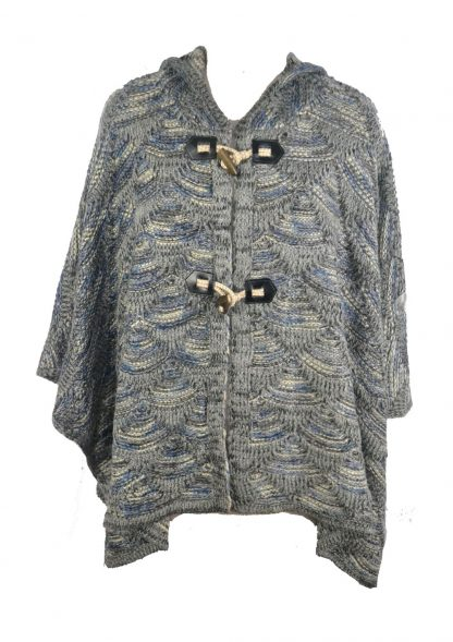 Poncho Knitted Grey One Size