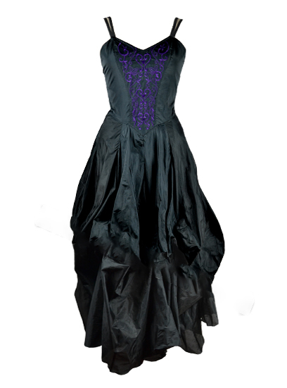 Dress Poly Silk Black And Purple