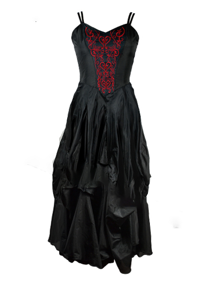 Dress Poly Silk Black And Red