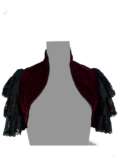 Jacket Shrug Velvet Maroon