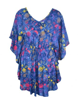 Kaftan Elasticated Rayon Navy