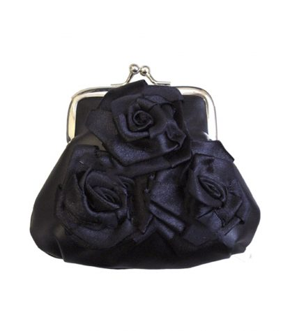 Purse Black Satin With Roses